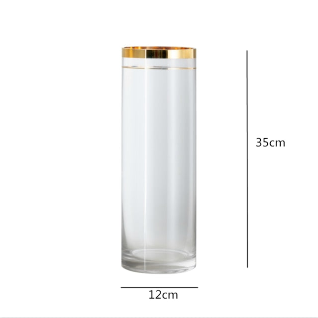 Cylinder Gold Rim Glass Vase