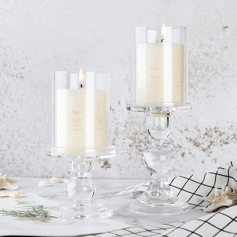 Glass Pillar Candle Holders with Hurricane Shade