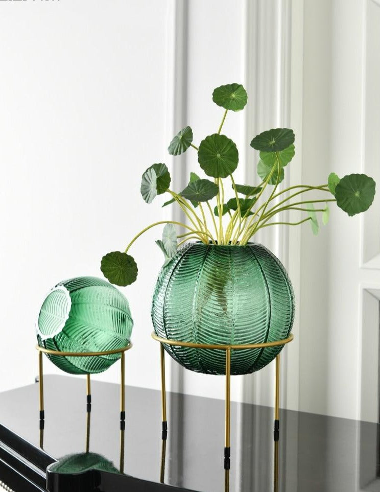 Glass Sphere Vase & Gold Stand