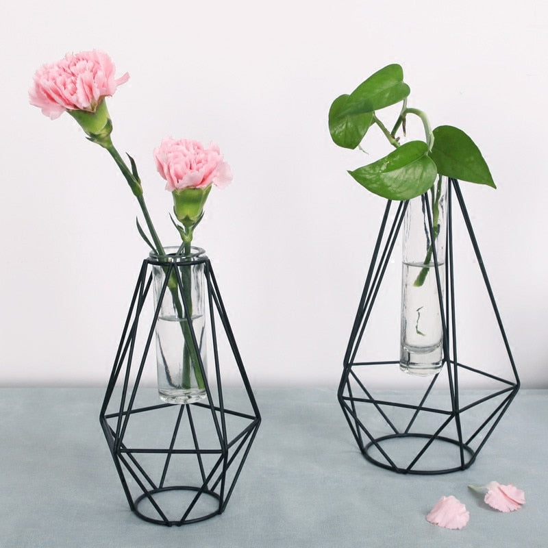 Black Geometric Bud Vase