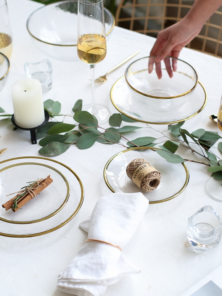 Glass Charger & Plates - Gold Rim