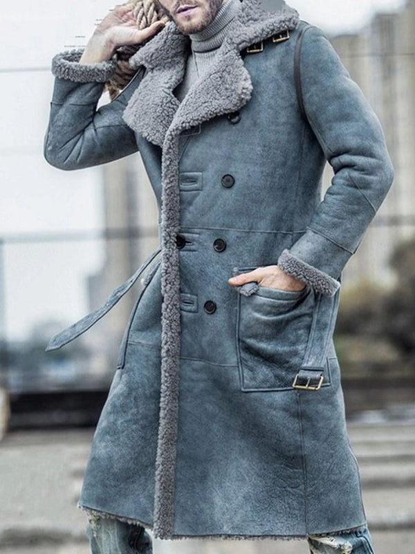 Color Block Long Pocket Winter A Line Coat
