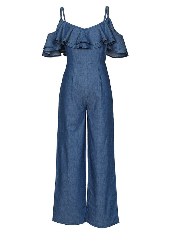 Sexy Full Length Plain Wide Legs Loose Jumpsuit