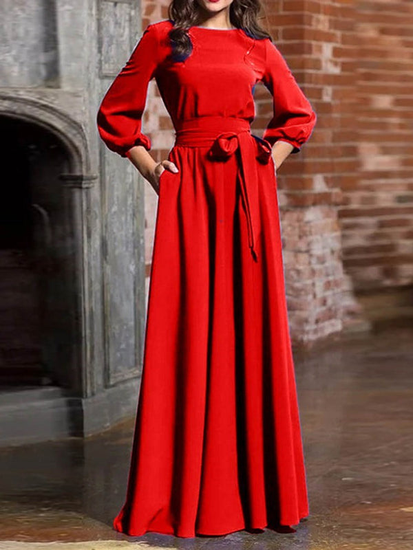 Floor-Length Round Neck Three-Quarter Sleeve Vintage A-Line Dress