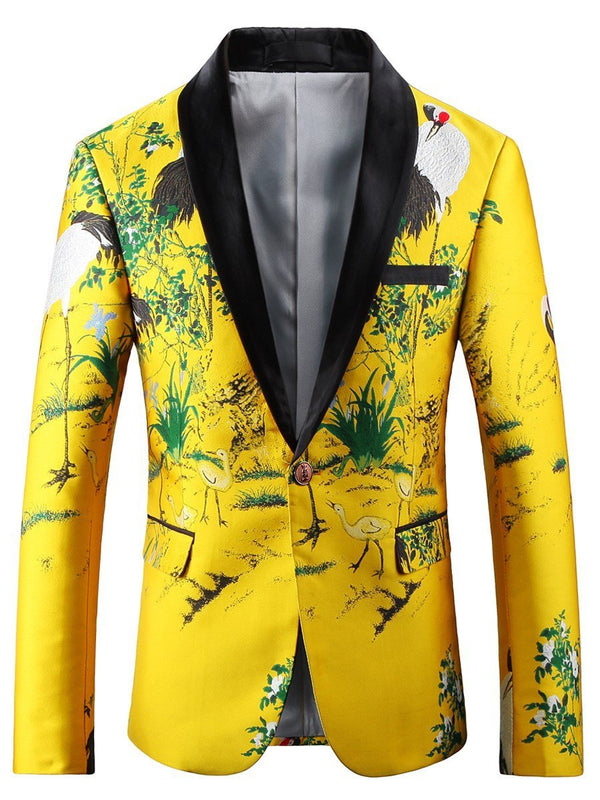 Color Block Notched Lapel Print leisure Suit