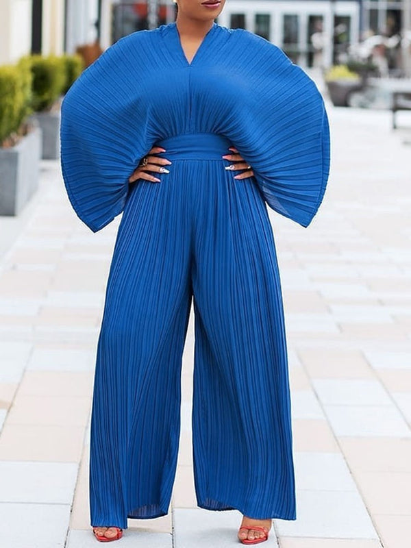 Pleated Western Full Length Slim Wide Legs Jumpsuit