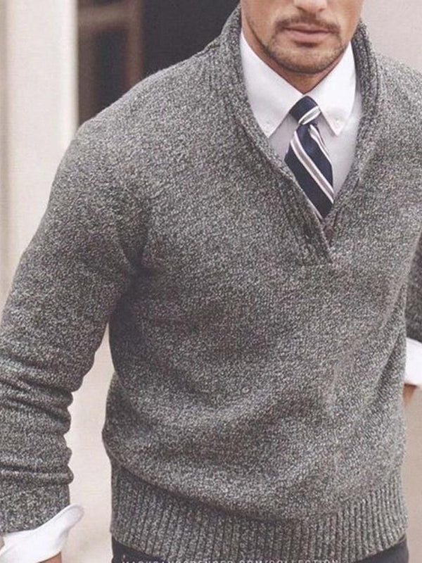 Plain Standard Stand Collar Loose Casual Sweater
