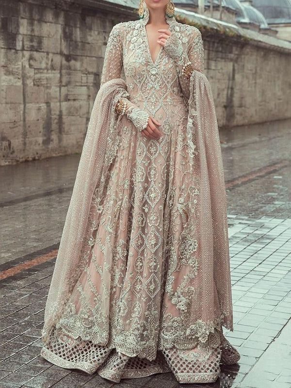 Floor-Length Long Sleeve V-Neck Party/Cocktail Regular Dress