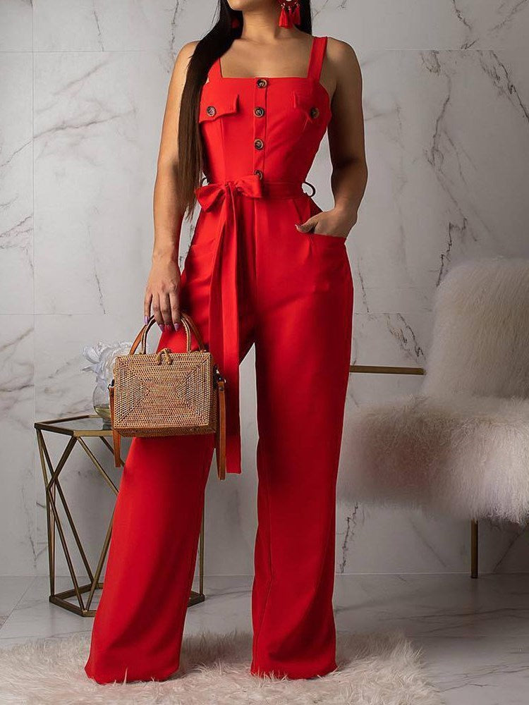 Plain Full Length Fashion Slim Wide Legs Jumpsuit