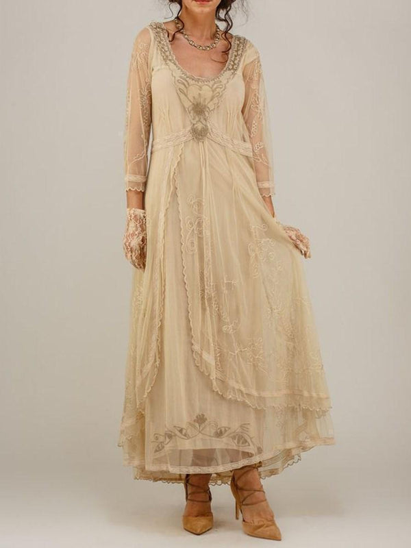 Embroidery Scoop Floor-Length A-Line Regular Dress