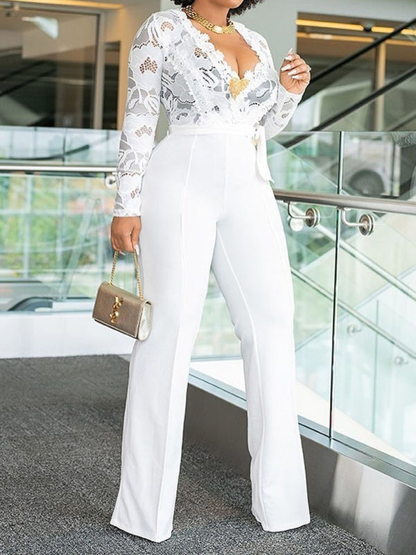 Full Length Plain Lace-Up Straight High Waist Jumpsuit