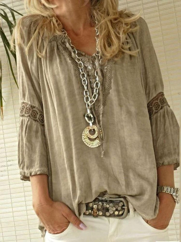 V-Neck Plain Patchwork Mid-Length Three-Quarter Sleeve Blouse