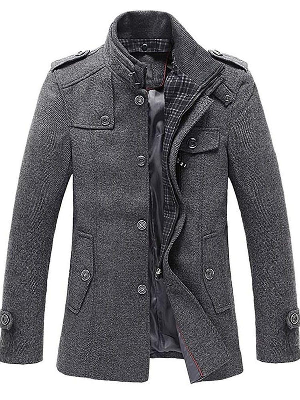 Button Mid-Length Plain Single-Breasted A Line Coat