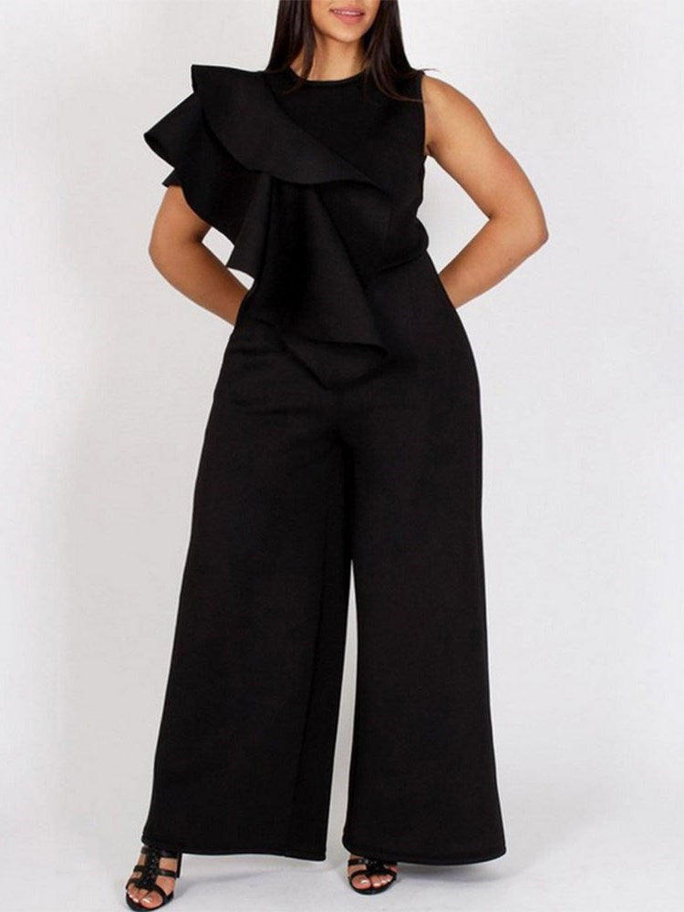 Full Length Plain Office Lady Loose Wide Legs Jumpsuit