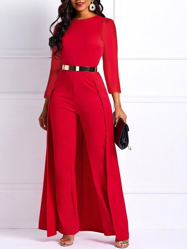 Full Length Office Lady Swallowtail Straight High Waist Jumpsuit