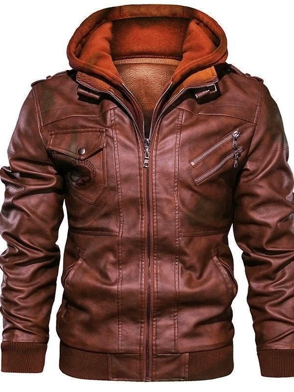 Hooded Standard Color Block Slim Leather Jacket