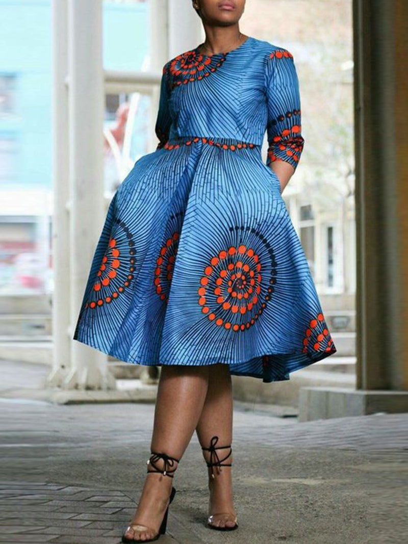 Print Three-Quarter Sleeve Mid-Calf Color Block Regular Dress
