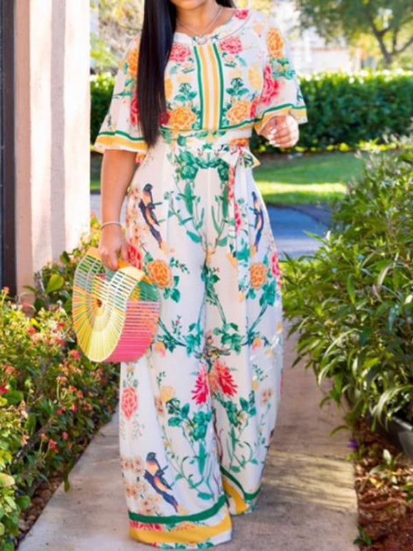 Floral Full Length Print Wide Legs Loose Jumpsuit