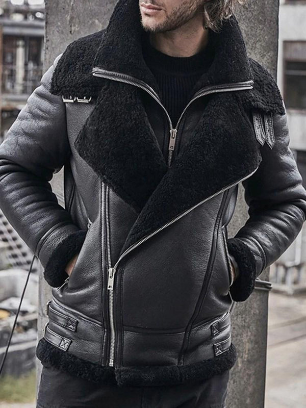 Zipper Lapel Thick Zipper Slim Jacket