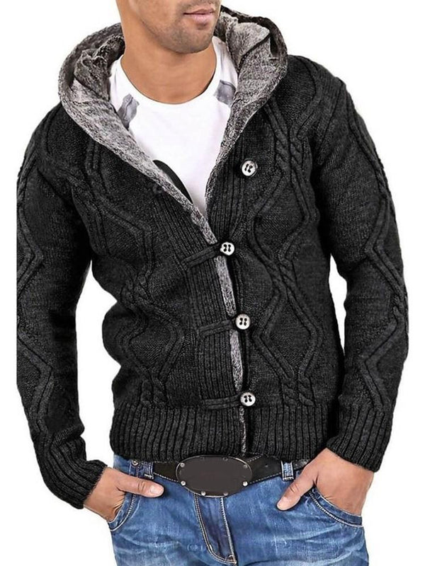 Hooded Button Standard Casual Single-Breasted Sweater