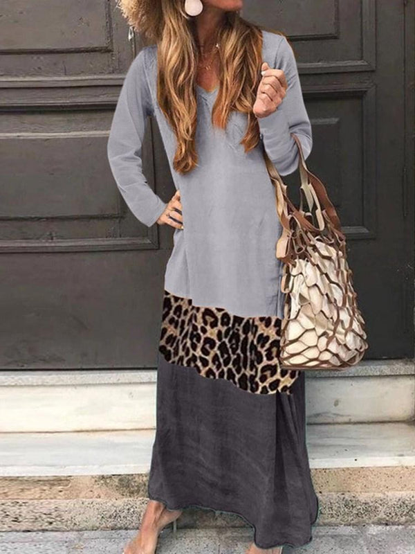 Long Sleeve Print Ankle-Length Casual Leopard Dress