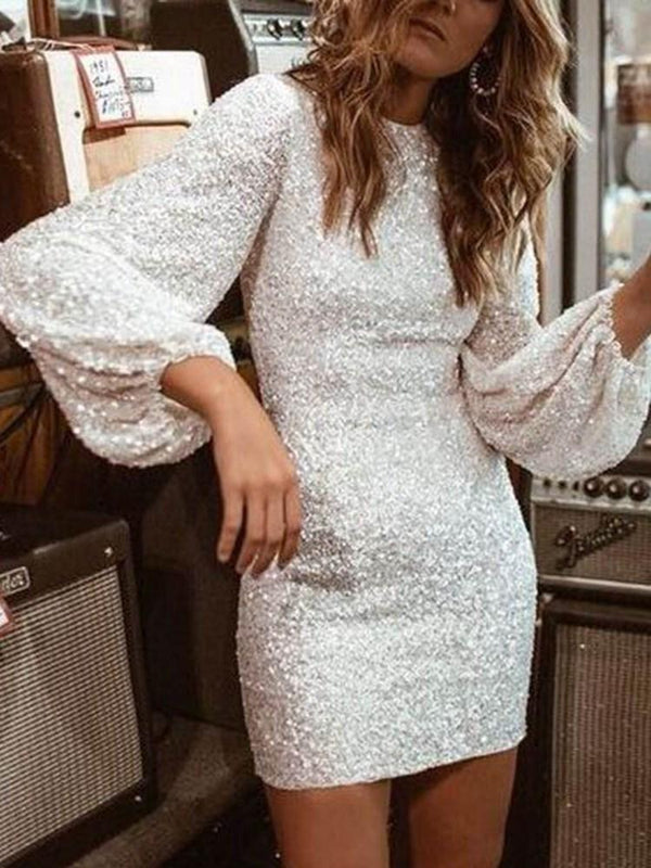 Above Knee Nine Points Sleeve Sequins Lantern Sleeve Pullover Dress
