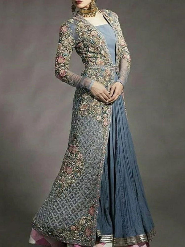 Floor-Length Long Sleeve Square Neck Floral A-Line Dress