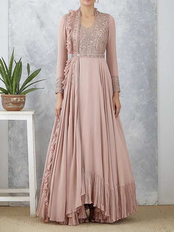 Falbala Floor-Length Nine Points Sleeve A-Line Pullover Dress