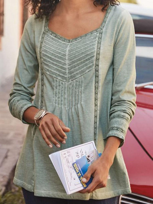Plain Mid-Length Long Sleeve Blouse