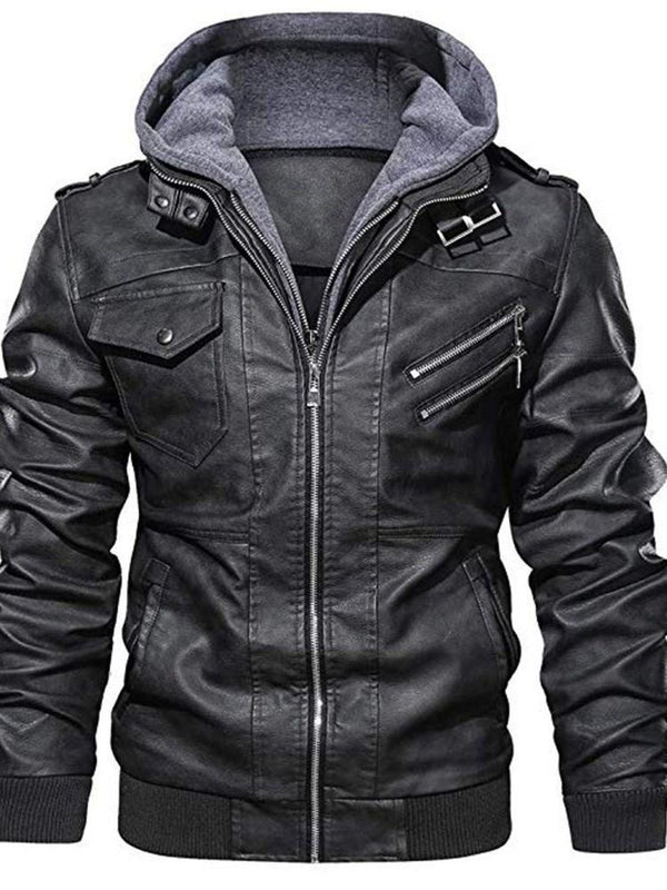 Hooded Standard Casual Slim Leather Jacket