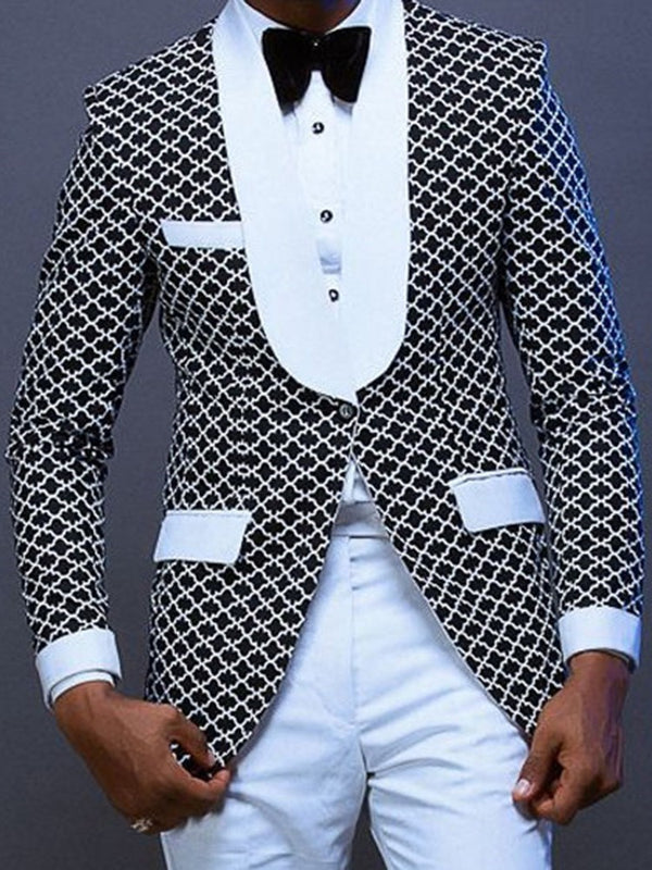 Print Notched Lapel Casual leisure Suit