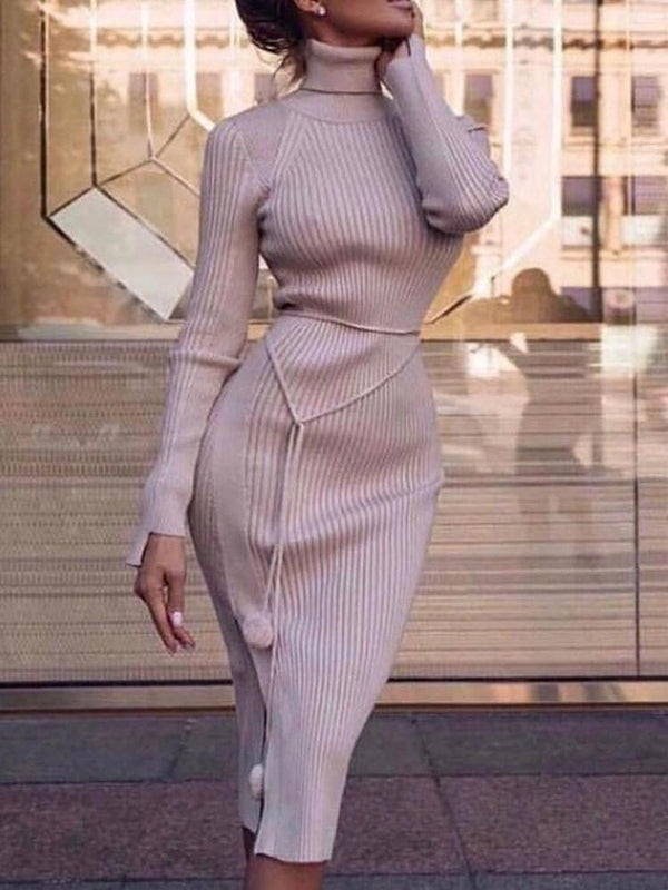 Turtleneck Long Sleeve Mid-Calf Regular Plain Dress