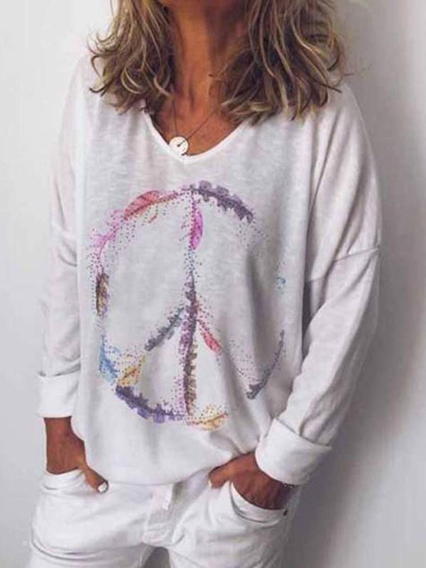 V-Neck Mid-Length Long Sleeve Casual Loose T-Shirt