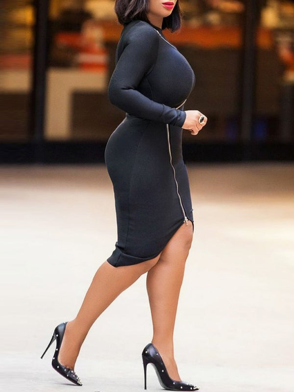 Mid-Calf Long Sleeve Round Neck Regular Pullover Dress