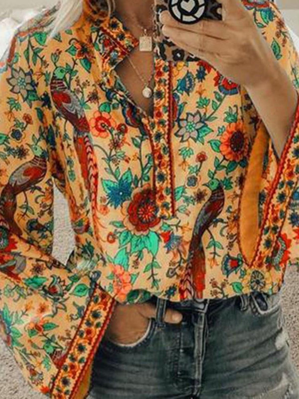 Floral Print Long Sleeve Standard Blouse