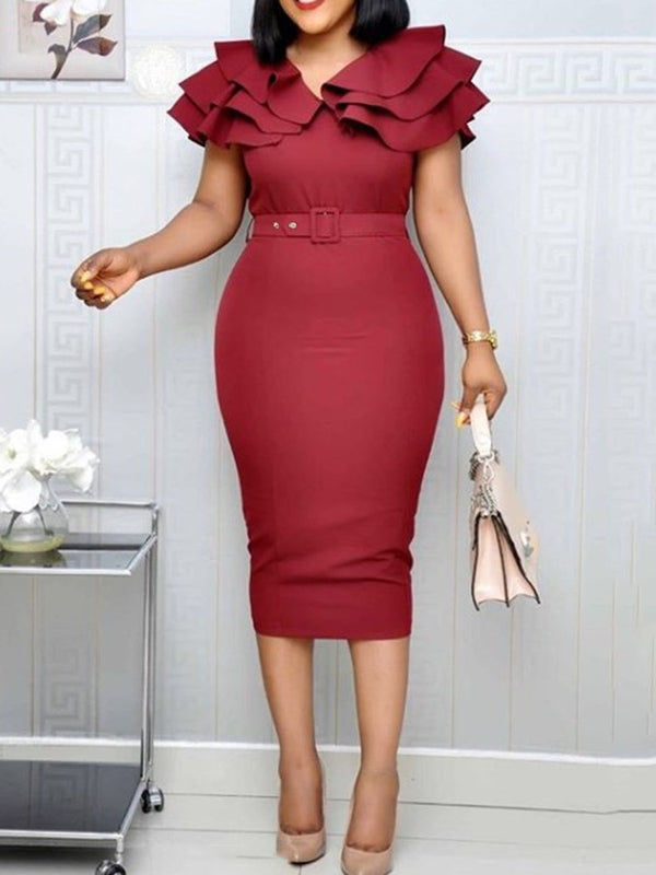 Mid-Calf Short Sleeve Split Pullover High Waist Dress