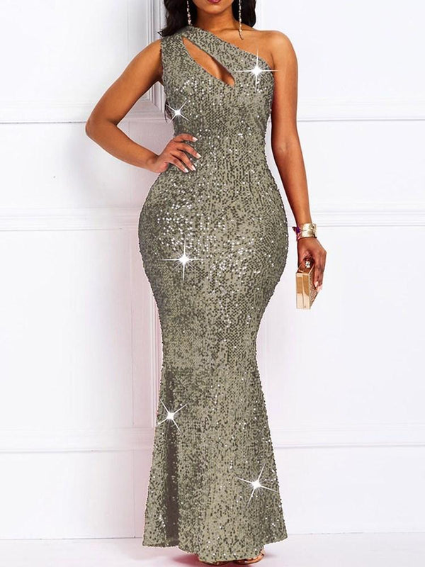Oblique Collar Sleeveless Sequins Plain Dress Dress