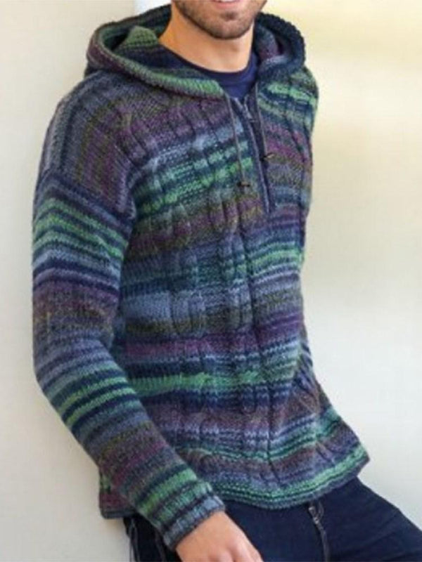 Hooded Color Block Standard Winter Casual Sweater