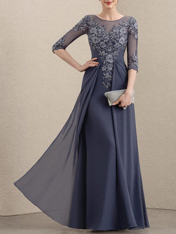 Floor-Length Round Neck Half Sleeve Fashion High Waist Dress