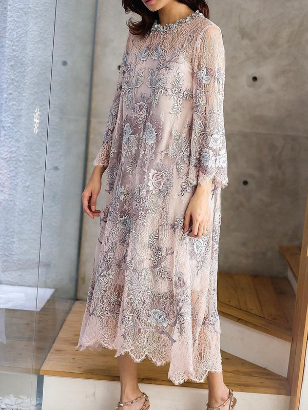 Round Neck Mid-Calf Embroidery Floral Pullover Dress