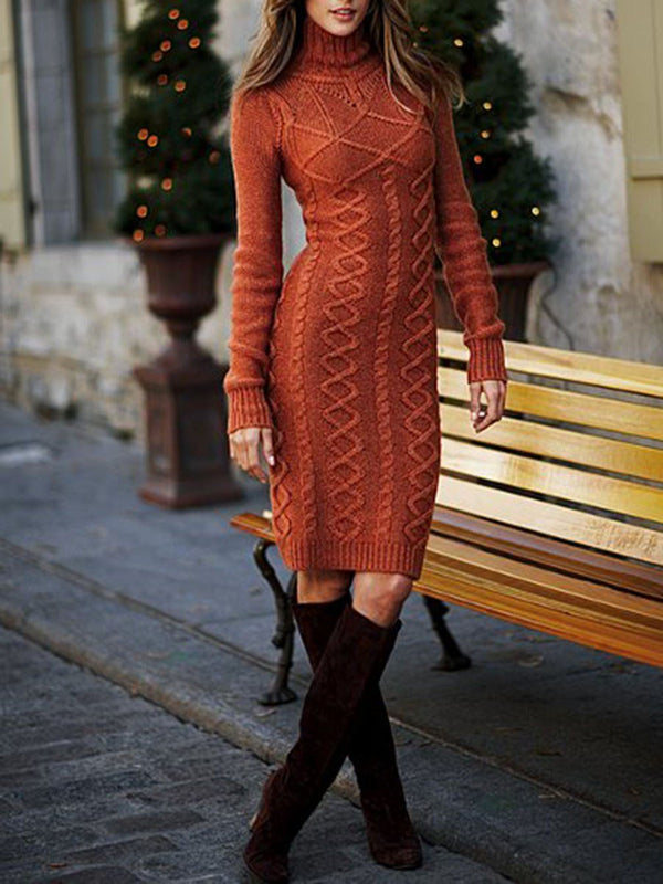 Long Sleeve Knee-Length Turtleneck Sheath Pullover Dress
