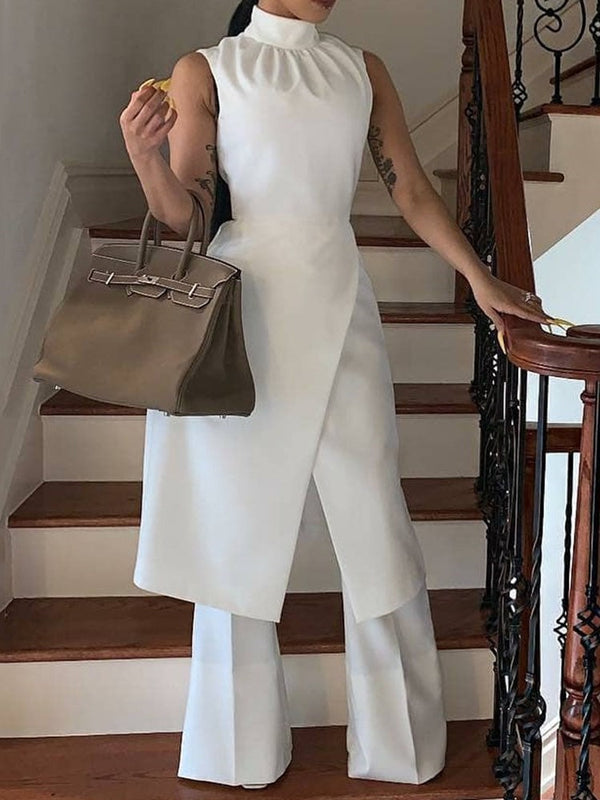 Plain Full Length Patchwork Wide Legs Slim Jumpsuit