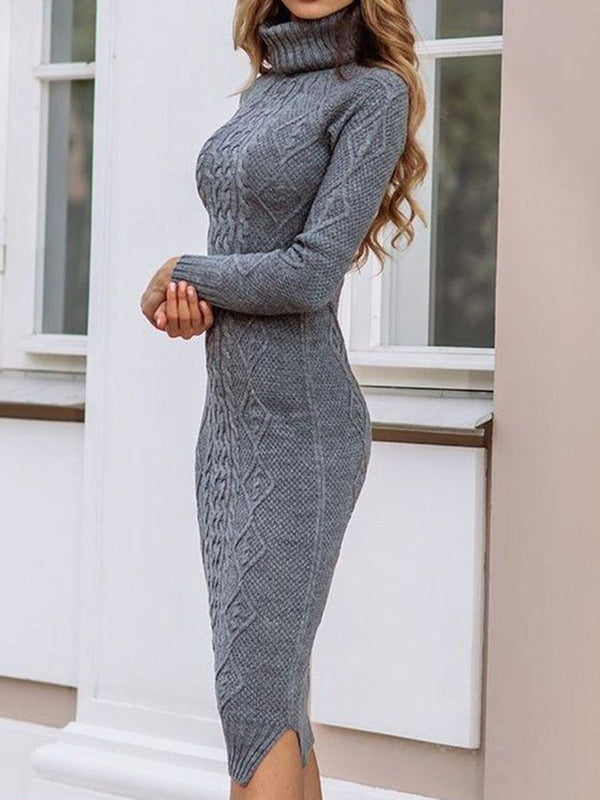 Turtleneck Long Sleeve Mid-Calf Plain Pullover Dress