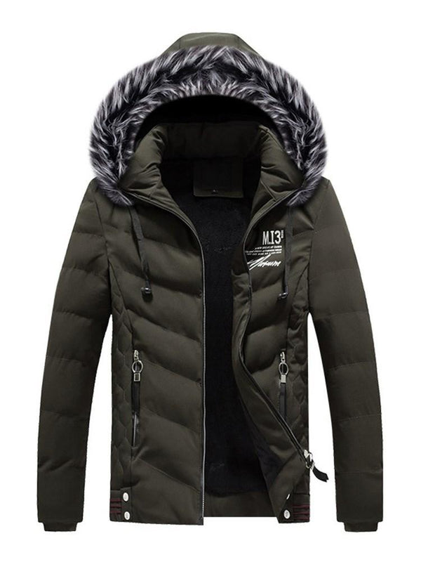 Plain Stand Collar Standard European Zipper Down Jacket