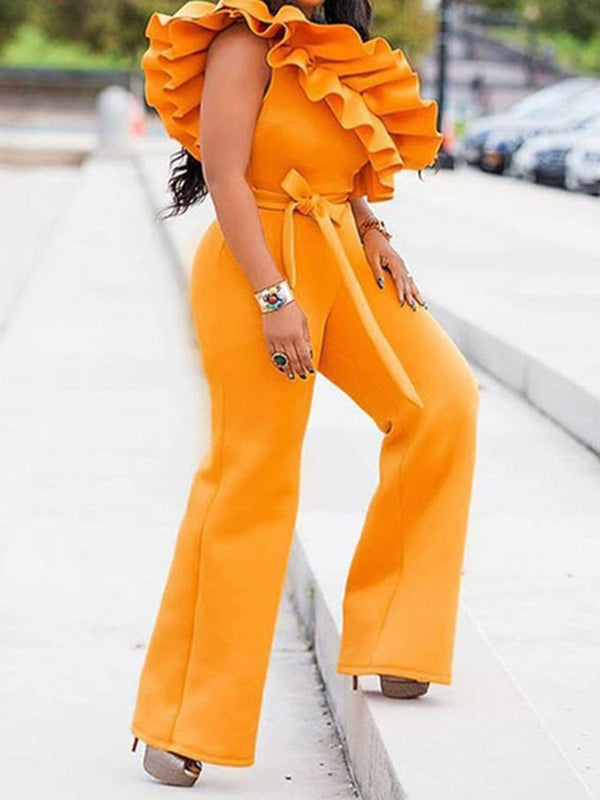 Sexy Full Length Plain Loose Jumpsuit