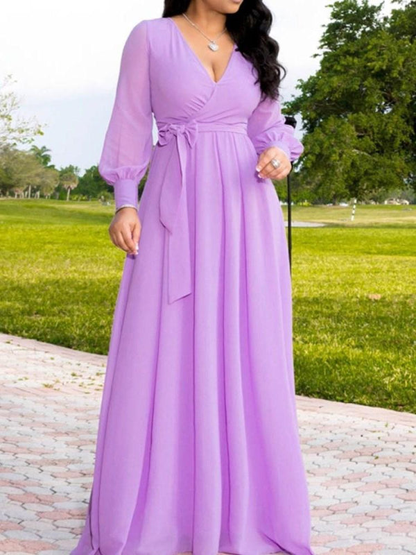 Floor-Length V-Neck Long Sleeve High Waist A-Line Dress