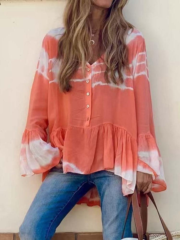 V-Neck Button Color Block Standard Long Sleeve Blouse