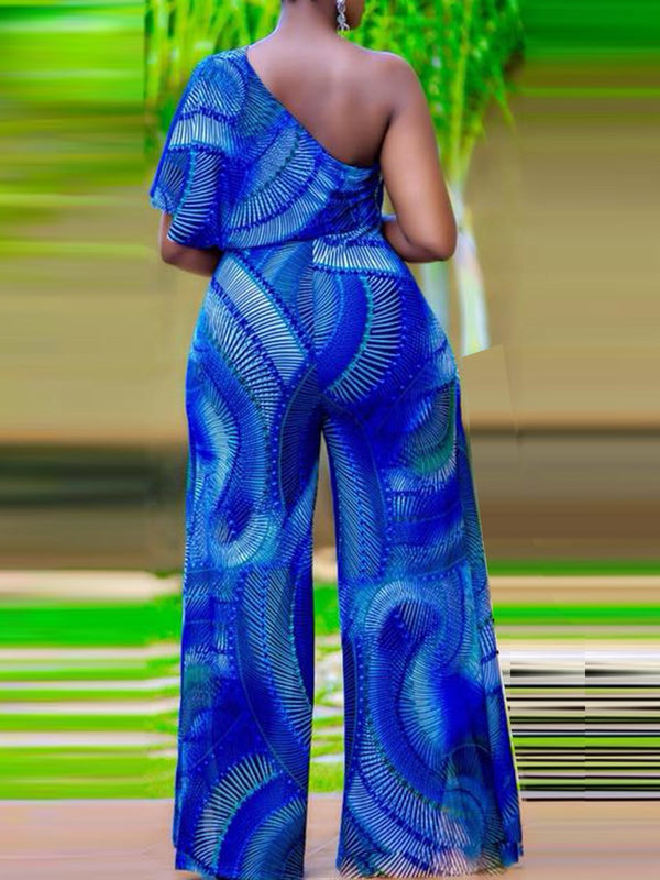 Full Length Western Print Wide Legs High Waist Jumpsuit