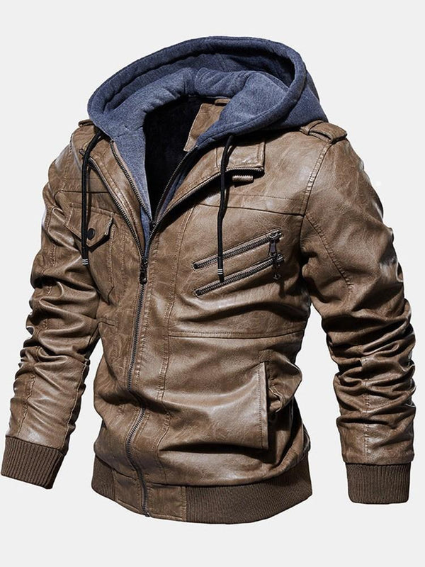 Hooded Standard Zipper Winter Leather Jacket