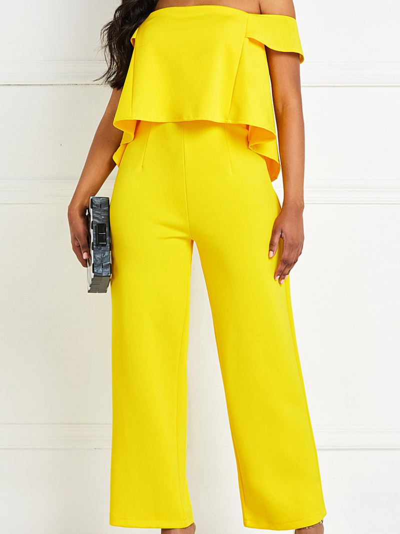 Full Length Falbala Date Night Slim High Waist Jumpsuit